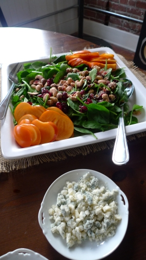 Persimmon salad, feta on the side for the Paleos